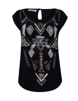 Camiseta negra brillo
